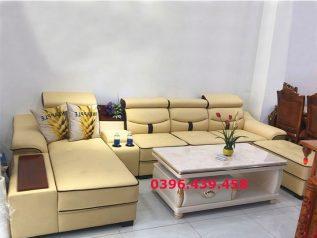 ghế sofa da nhập khẩu giá rẻ màu vàng tranh góc L có sẵn giường nằm sd0167