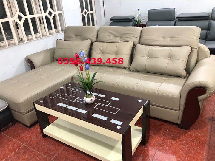 ghế sofa da nhập khẩu giá rẻ góc chữ L tay ốp gỗ sd0168