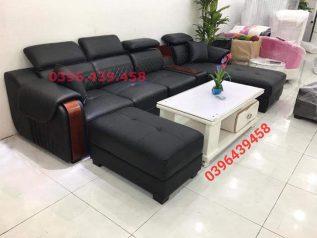 ghế sofa da nhập khẩu giá rẻ màu đen đầu bật gật gù tay ốp gỗ sang trọng sd0169
