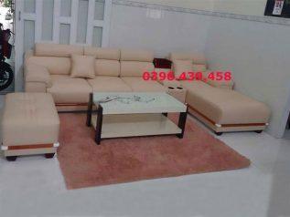 ghế sofa da nhập khẩu giá rẻ màu vàng tranh đầu gật gù có giường nằm thư giãn chân ốp gỗ tuyệt đẹp sd0172