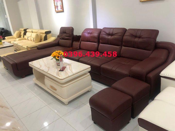 ghế sofa da nhập khẩu giá rẻ màu đỏ đô đậm góc L nhiều chỗ ngồi có giường nằm rộng rãi sd0173