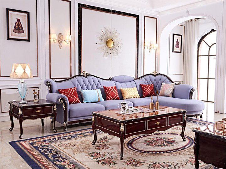 Ghế sofa tân cổ điển nhập khẩu giá rẻ góc chữ L kết cấu hoa văn cầu kì tuyệt đẹp vừa sang trọng vừa bề thế có sẵn giường nằm thư giãn SCD018