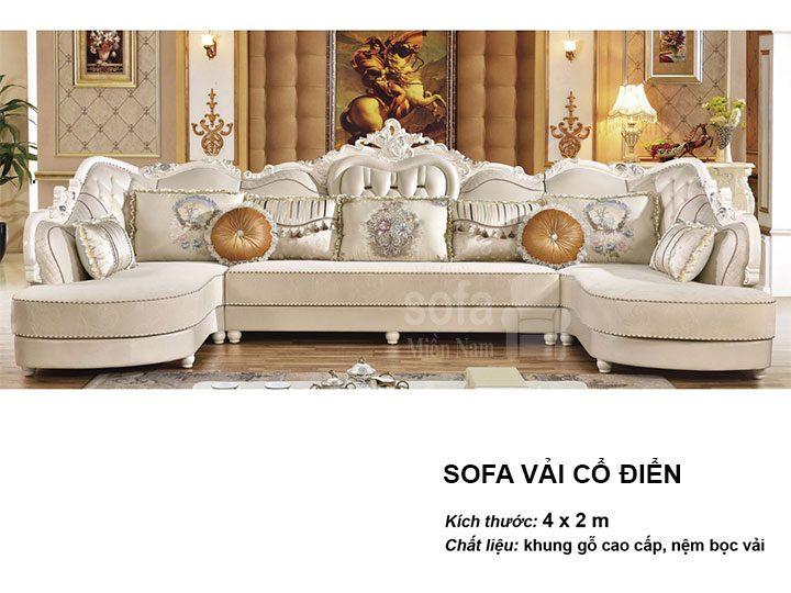 Ghế sofa tân cổ điển nhập khẩu giá rẻ góc chữ L kết cấu hoa văn cầu kì tuyệt đẹp vừa sang trọng vừa bề thế có sẵn giường nằm thư giãn SCD019