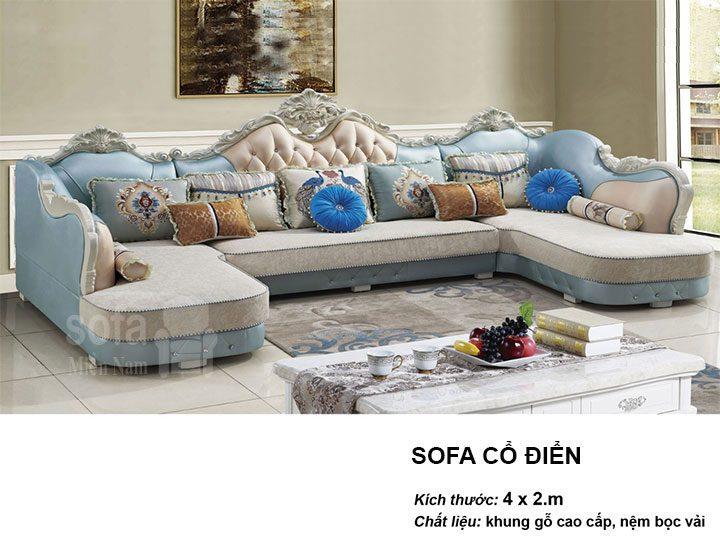 Ghế sofa tân cổ điển nhập khẩu giá rẻ góc chữ L kết cấu hoa văn cầu kì tuyệt đẹp vừa sang trọng vừa bề thế có sẵn giường nằm thư giãn SCD020