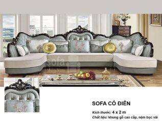 Ghế sofa tân cổ điển nhập khẩu giá rẻ góc chữ L kết cấu hoa văn cầu kì tuyệt đẹp vừa sang trọng vừa bề thế có sẵn giường nằm thư giãn SCD021
