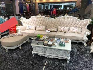 Ghế sofa tân cổ điển nhập khẩu giá rẻ góc chữ L kết cấu hoa văn cầu kì tuyệt đẹp vừa sang trọng vừa bề thế có sẵn giường nằm thư giãn SCD022