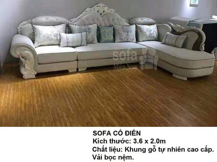 Ghế sofa tân cổ điển nhập khẩu giá rẻ góc chữ L kết cấu hoa văn cầu kì tuyệt đẹp vừa sang trọng vừa bề thế có sẵn giường nằm thư giãn SCD023