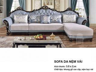 Ghế sofa tân cổ điển nhập khẩu giá rẻ màu xanh dương nhạt tuyệt đẹp vừa sang trọng vừa bề thế SCD001