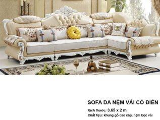 Ghế sofa tân cổ điển nhập khẩu giá rẻ góc chữ L tuyệt đẹp vừa sang trọng vừa bề thế lại nhiều chỗ ngồi SCD002