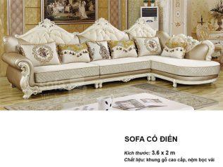 Ghế sofa tân cổ điển nhập khẩu giá rẻ góc chữ L decor họa tiết màu vàng đồng tuyệt đẹp vừa sang trọng lại nhiều chỗ ngồi SCD005