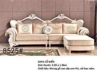 Ghế sofa tân cổ điển nhập khẩu giá rẻ kết cấu hoa văn cầu kì tuyệt đẹp vừa sang trọng vừa bề thế có sẵn giường nằm thư giãn SCD007