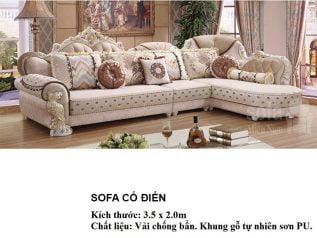 Ghế sofa tân cổ điển nhập khẩu giá rẻ góc chữ L kết cấu hoa văn cầu kì tuyệt đẹp vừa sang trọng vừa bề thế có sẵn giường nằm thư giãn SCD008