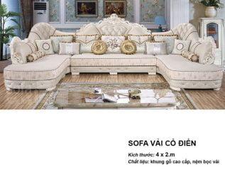 Ghế sofa tân cổ điển nhập khẩu giá rẻ góc chữ L kết cấu hoa văn cầu kì tuyệt đẹp vừa sang trọng vừa bề thế có sẵn giường nằm thư giãn SCD009