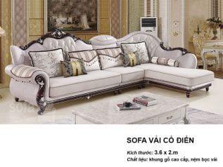 Ghế sofa tân cổ điển nhập khẩu giá rẻ góc chữ L kết cấu hoa văn cầu kì tuyệt đẹp vừa sang trọng vừa bề thế có sẵn giường nằm thư giãn SCD010