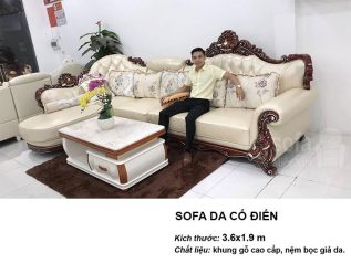 Ghế sofa tân cổ điển nhập khẩu giá rẻ góc chữ L khung gỗ tự nhiên sơn bóng PU có sẵn giường nằm thư giãn SCD011