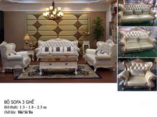 Ghế sofa tân cổ điển nhập khẩu giá rẻ góc chữ U khung gỗ tự nhiên sơn bóng PU có sẵn giường nằm thư giãn SCD012
