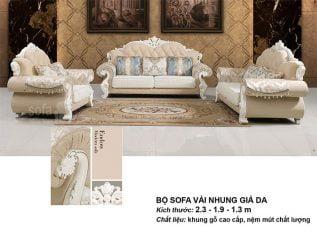 Ghế sofa tân cổ điển nhập khẩu vải nhung giả da giá rẻ góc chữ L kết cấu hoa văn cầu kì tuyệt đẹp có sẵn giường nằm thư giãn SCD013