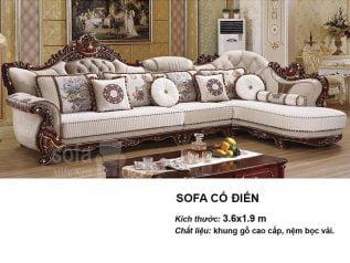 Ghế sofa tân cổ điển nhập khẩu giá rẻ góc chữ L kết cấu hoa văn cầu kì tuyệt đẹp vừa sang trọng vừa bề thế có sẵn giường nằm thư giãn SCD014