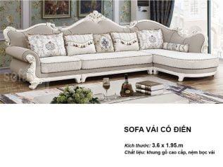 Ghế sofa tân cổ điển nhập khẩu giá rẻ góc chữ L kết cấu hoa văn cầu kì tuyệt đẹp vừa sang trọng vừa bề thế có sẵn giường nằm thư giãn SCD015