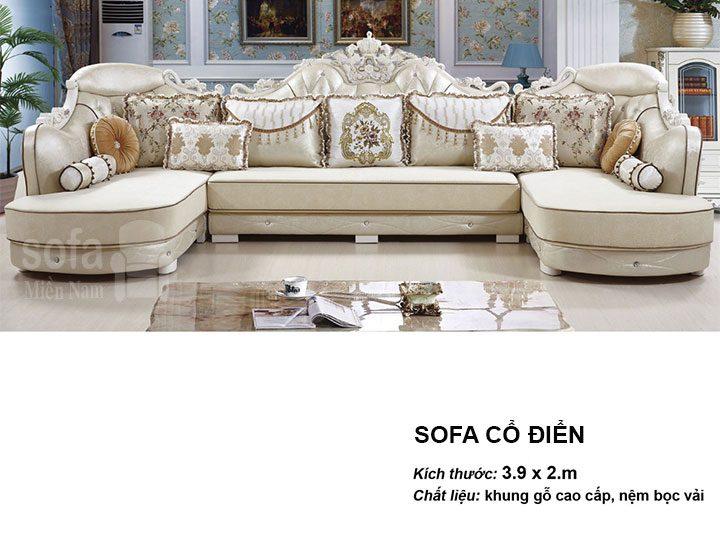 Ghế sofa tân cổ điển nhập khẩu giá rẻ góc chữ L kết cấu hoa văn cầu kì tuyệt đẹp vừa sang trọng vừa bề thế có sẵn giường nằm thư giãn SCD016