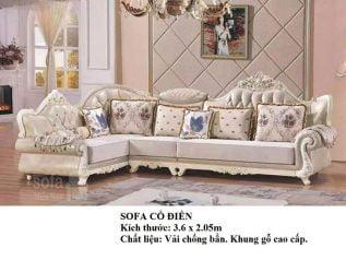 Ghế sofa tân cổ điển nhập khẩu giá rẻ góc chữ L kết cấu hoa văn cầu kì tuyệt đẹp vừa sang trọng vừa bề thế có sẵn giường nằm thư giãn SCD017