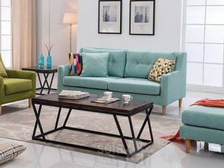 Ghế sofa vải bố nhập khẩu màu xanh nhạt dạng băng đơn nhỏ gọn SV008