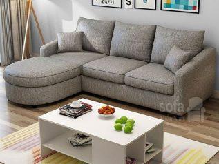 Ghế sofa vải bố nhập khẩu màu xám dạng góc L giúp tận dụng tối đa diện tích cho nhiều chỗ ngồi có băng nằm thư giãn SV012