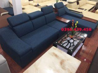 Ghế sofa vải bố nhập khẩu màu xanh dương đậm dạng góc L giúp tận dụng tối đa diện tích cho nhiều chỗ ngồi có băng nằm thư giãn SV013