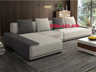 Ghế sofa vải bố nhập khẩu màu xám phối trắng dạng góc L giúp tận dụng tối đa diện tích cho nhiều chỗ ngồi có băng nằm thư giãn quá rộng SV022