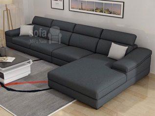 Ghế sofa vải nỉ màu xám đậm góc L hiện đại được ưa chuộng có giường nằm êm ái rộng rãi thoải mái SV029