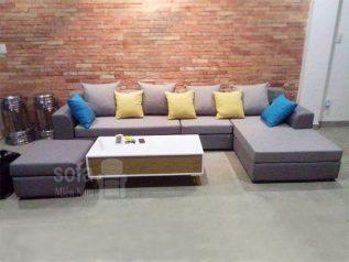 Ghế sofa vải nỉ nhập khẩu giá rẻ màu xám đẹp hiện đại dạng góc chữ L nhỏ gọn có giường nằm rộng SV001