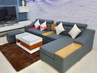 Ghế sofa vải nhập khẩu dạng góc L hiện đại phối màu xám nhạt tuyệt đẹp đầu bật gật gù có giường nằm ngủ SV002