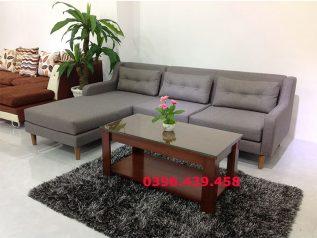 Ghế sofa vải nỉ màu xám góc chữ L có giường ngủ SV003