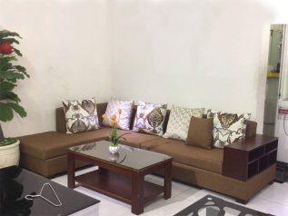 Ghế sofa vải nỉ màu nâu góc chữ L có giường ngủ và kệ đồ SV003