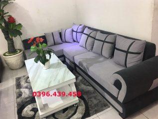 Ghế sofa vải nỉ màu xám viền nâu góc chữ L có giường ngủ nhỏ gọn xinh xắn SV005