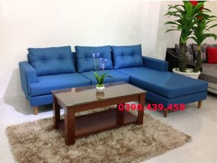 Ghế sofa vải nỉ nhập khẩu màu xanh nước biển dạng góc chữ L nhỏ gọn nhiều chỗ ngồi SV007
