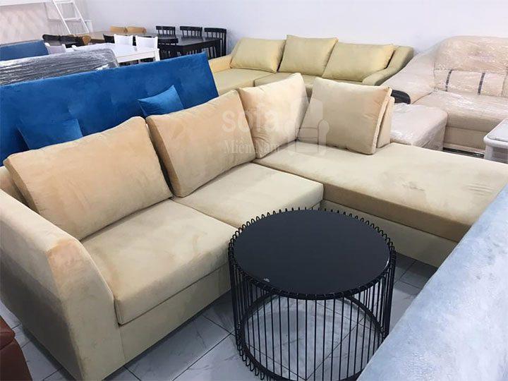 Ghế sofa vải nhung mềm êm giá rẻ màu trắng kiểu dáng góc L đơn giản nhưng kết cấu chắc chắn đẹp nhỏ gọn SV154