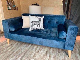 Băng ghế sofa vải nhung giá rẻ màu xanh kiểu dáng đơn giản nhưng kết cấu chắc chắn, đẹp nhỏ gọn dễ bố trí trong không gian nhỏ SV156