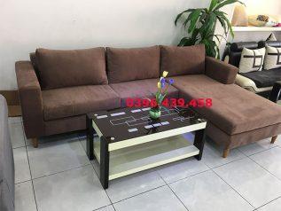 Ghế sofa vải nhung nhập khẩu giá rẻ màu nâu sô cô la góc L có giường nằm thoải mái SV015