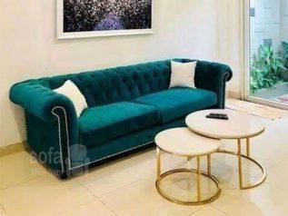 Băng ghế sofa vải nhung giá rẻ màu xanh lá cây kiểu dáng tân cổ điển không trang trí cầu kì mà đơn giản nhưng kết cấu chắc chắn, đẹp nhỏ gọn SV151