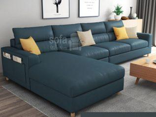 Ghế sofa vải nỉ nhập khẩu giá rẻ góc chữ L có giường nằm màu xanh dương đậm mang lại sự sang trọng cho không gian tiếp khách SV0016