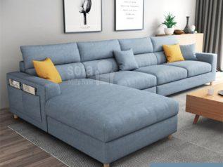 Ghế sofa vải nỉ nhập khẩu giá rẻ góc chữ L có giường nằm và túi đựng đồ bên hông mang lại sự tiện nghi cho chỗ tiếp khách SV0016