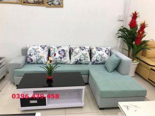 Ghế sofa vải nỉ nhập khẩu giá rẻ góc chữ L có giường nằm được phối màu trang nhã SV0019