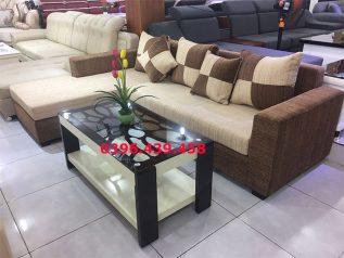 Ghế sofa vải nỉ nhập khẩu màu nâu sô cô la dạng góc chữ L nhỏ gọn nhiều chỗ ngồi SV009