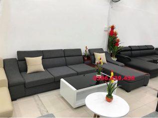 Ghế sofa vải nỉ nhập khẩu màu xám dạng góc chữ L nhiều chỗ ngồi có khay đựng đồ và giường nằm ngủ SV010