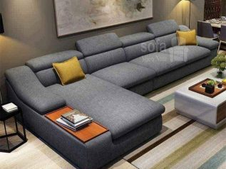 Ghế sofa vải nỉ nhập khẩu giá rẻ đầu gật gù góc L có khay để đồ và giường ngủ rộng rãi SV011