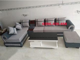 Bộ ghế sofa vải nỉ màu xám hiện đại màu đẹp không quá tối hay quá sáng rất lịch sự SV0005