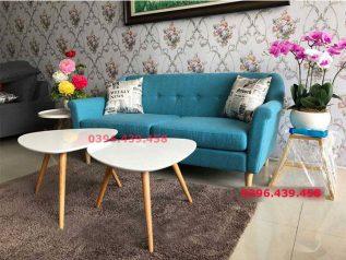 Ghế sofa vải nhập khẩu màu xanh mang lại không gian tiếp khách sự tươi mát thoải mái dạng băng đơn nhỏ gọn SV018