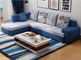 Ghế sofa vải nỉ nhập khẩu giá rẻ góc chữ L có giường nằm được phối màu xanh dương nệm trắng trang nhã SV0019