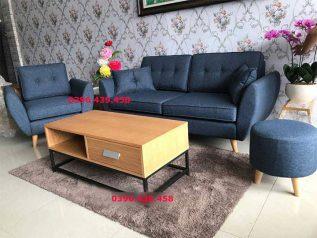 Ghế sofa vải nỉ nhập khẩu giá rẻ băng đơn nhỏ gọn được phối màu xanh đậm trang nhã xinh xắn SV021